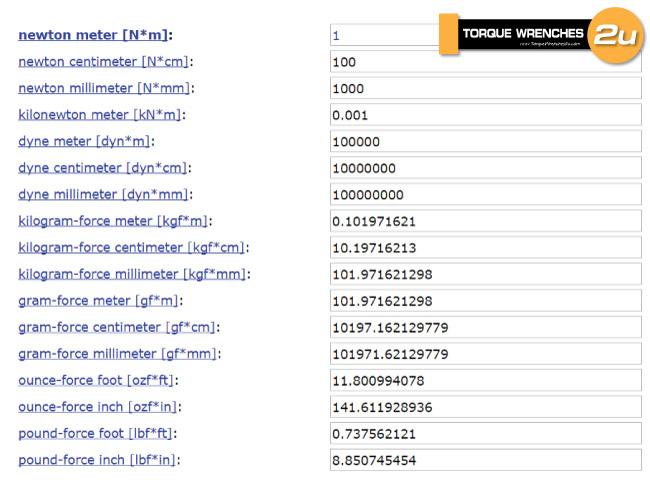 120 Nm จะเท่ากับ (0.737562/1) * 120 = 88.507 lbf.ft .